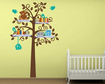 Tall Tree with Birds Leaves Shelf Tree Vinyl Decals Nursery Stickers