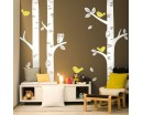 Nursery Birch Tree Wall Decals with Birds and Owl Vinyl Tree Decal