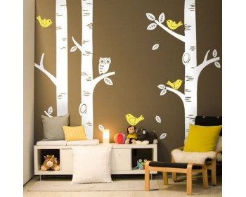 3 Birch Trees Wall Decals with Birds and Owl Vinyl Tree Decal