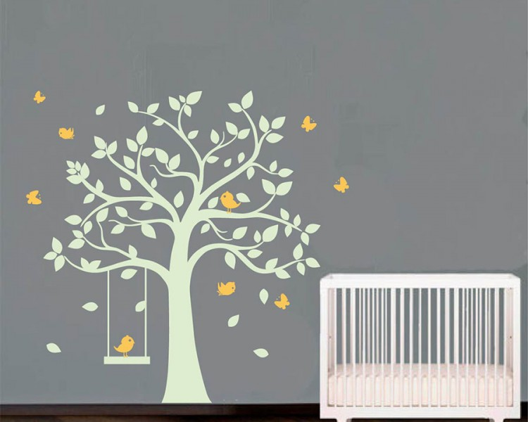 tree with birds and swing wall decal nursery vinyl tree art stickers