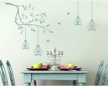 Branch Wall Decal with Birdcages Vinyl Tree Art Stickers