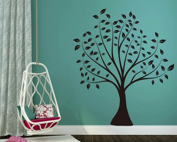 Tree with Leaves Wall Decal Vinyl Tree Art Stickers