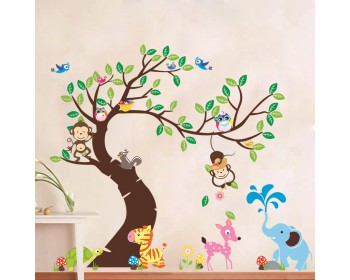 Large Nursery Tree Sticker Happy Time Elephant, Monkeys, Birds, Zebra