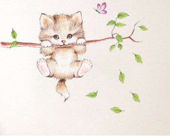 Cut Kitty on the Branch wall decals