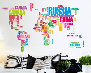 World Map with coutry names wall decals