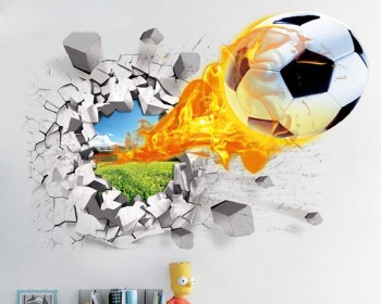 Football on the Fire Sticker - Break Through The Wall - Soccer Wall Decal