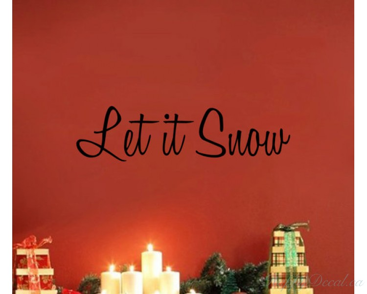 Let it Snow - Christmas Wall Vinyl Decal Sticker Family Kids Room Mural Holiday Season Santa Ho Door Decal Quote Lettering Merry Christmas