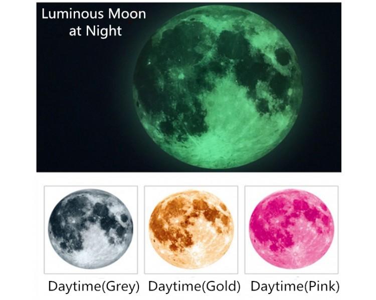 Full Moon Sticker, Glow in the Dark Moon Decal, Lunar Wall Sticker