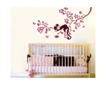 Monkey Sleeping on the Lemon Tree Wall Decal