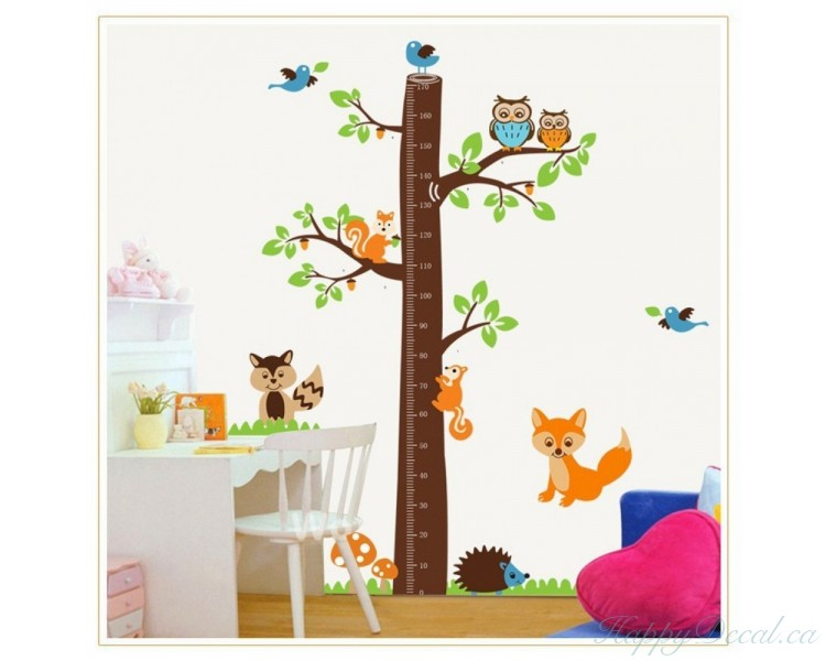 tree growth chart wall decal birdy height gauge growth chart wall stickers removable
