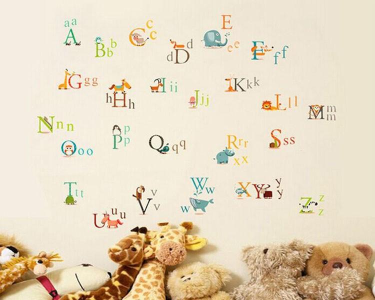 Alphabet letters in animals vinyl wall decals nursery sticker for Alphabet mural nursery