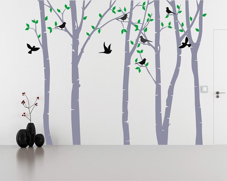 birch tree forest wall stickers silver birch trees vinyl wall sticker by oakdene designs
