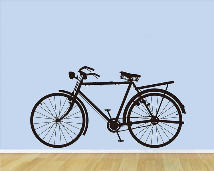 Bicycle vinyl decals modern wall art sticker for Kitchen colors with white cabinets with tandem bike wall art