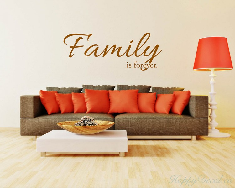 family is forever quotes wall decal lettering vinyl art stickers. Black Bedroom Furniture Sets. Home Design Ideas