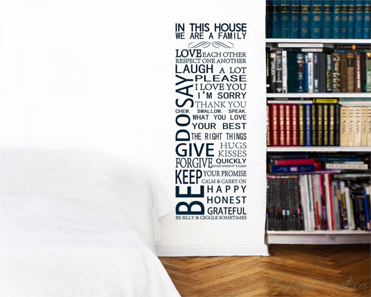 in this house quotes wall decal family vinyl art stickers large we are family in this house vinyl family wall