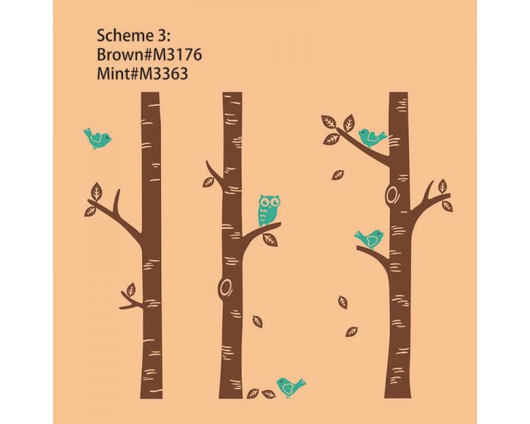 Birch tree wall decals with birds and owl set of 3 trees for Bird and owl tree wall mural set